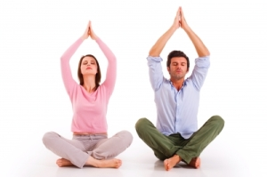 Yoga-Couple -yoga for depression - Helaing yoga class brighton holistic clinic rajadhiraja