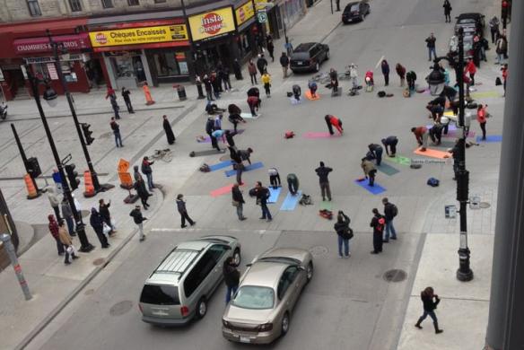 montreal-protest-yoga healing yoga